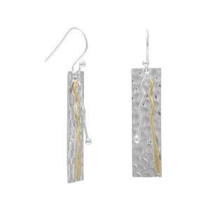 Two Toned Bar Drop Earrings